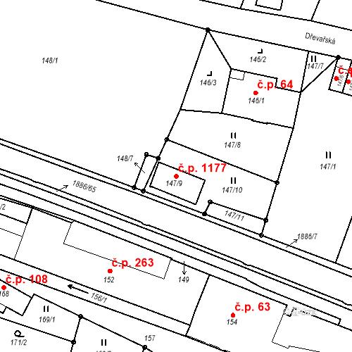Katastrální mapa Stavební objekt Liberec XXX-Vratislavice nad Nisou 1177, Liberec