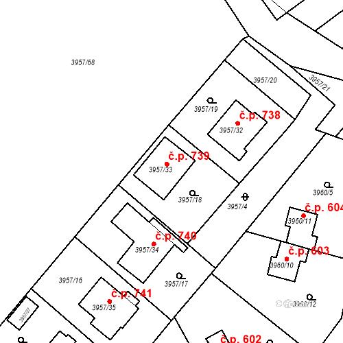 Katastrální mapa Stavební objekt Žižkov 739, Kutná Hora