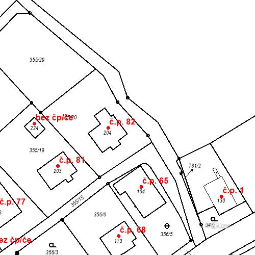 Katastrální mapa Stavební objekt Hradec 82, Hradec