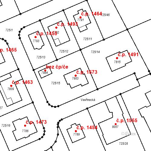 Katastrální mapa Stavební objekt Kolín V 1573, Kolín