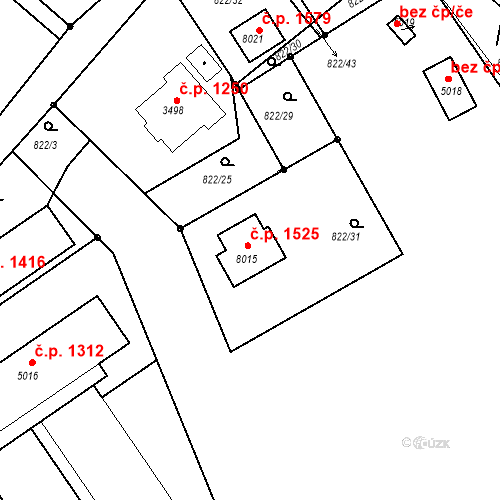 Katastrální mapa Stavební objekt Kolín V 1525, Kolín