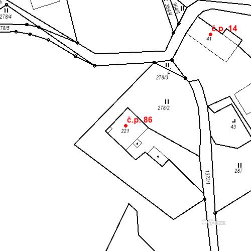 Katastrální mapa Stavební objekt Fojtka 86, Mníšek