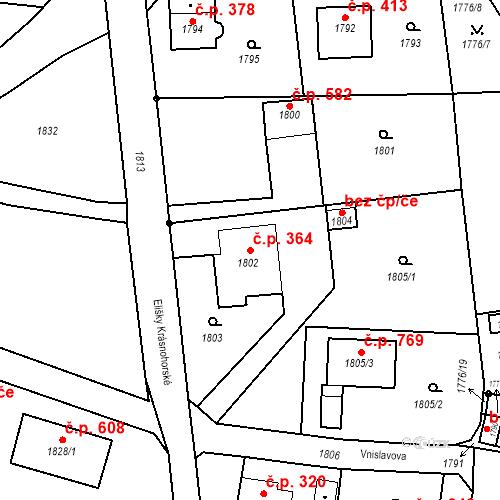 Katastrální mapa Stavební objekt Liberec XIV-Ruprechtice 364, Liberec