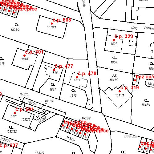Katastrální mapa Stavební objekt Liberec XIV-Ruprechtice 478, Liberec