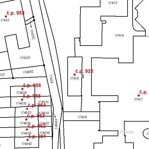 Katastrální mapa Stavební objekt Liberec XIV-Ruprechtice 922, Liberec