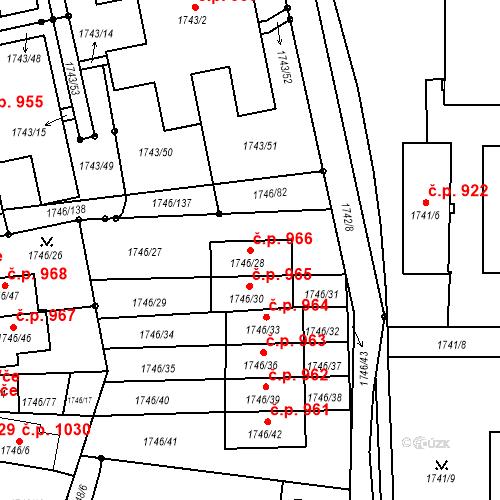 Katastrální mapa Stavební objekt Liberec XIV-Ruprechtice 966, Liberec