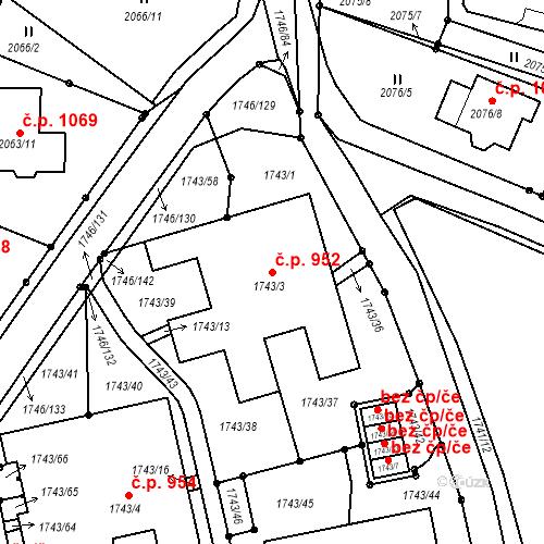 Katastrální mapa Stavební objekt Liberec XIV-Ruprechtice 952, Liberec