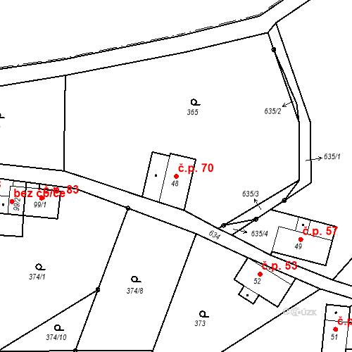 Katastrální mapa Stavební objekt Liberec XXXII-Radčice 70, Liberec