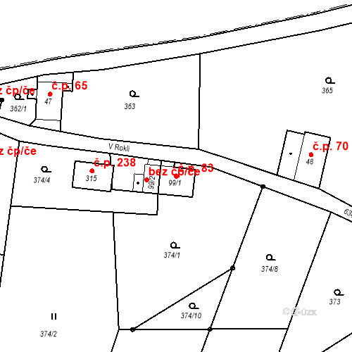 Katastrální mapa Stavební objekt Liberec XXXII-Radčice 83, Liberec