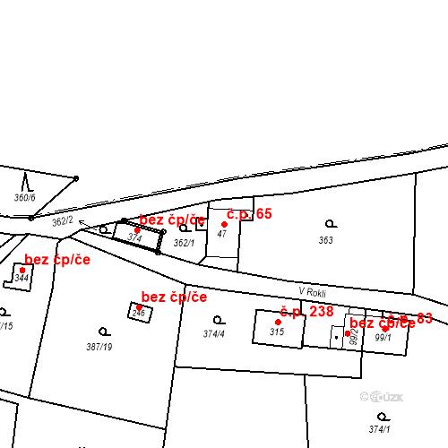 Katastrální mapa Stavební objekt Liberec XXXII-Radčice 65, Liberec