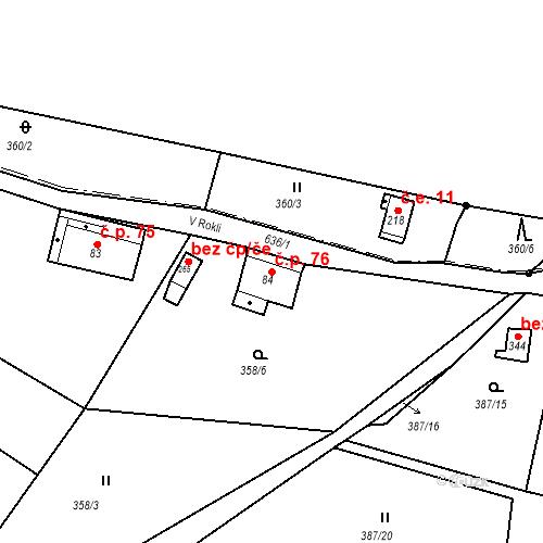 Katastrální mapa Stavební objekt Liberec XXXII-Radčice 76, Liberec