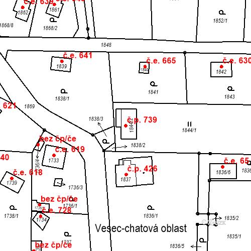 Katastrální mapa Stavební objekt Liberec XXV-Vesec 739, Liberec