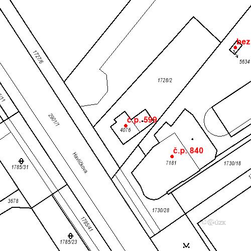 Katastrální mapa Stavební objekt Kolín IV 599, Kolín