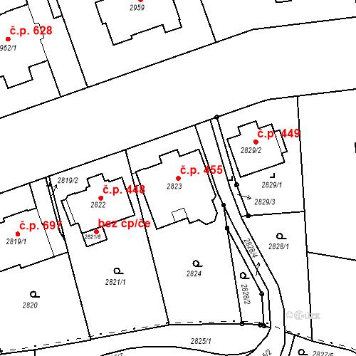 Katastrální mapa Stavební objekt Liberec I-Staré Město 455, Liberec