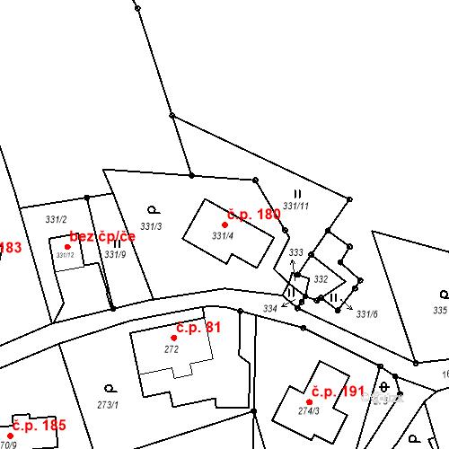 Katastrální mapa Stavební objekt Liberec XVII-Kateřinky 180, Liberec