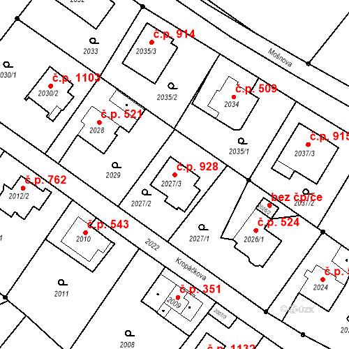 Katastrální mapa Stavební objekt Liberec XIV-Ruprechtice 928, Liberec