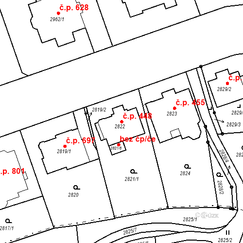 Katastrální mapa Stavební objekt Liberec I-Staré Město 448, Liberec