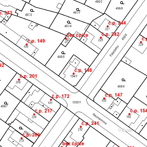Katastrální mapa Stavební objekt Sendražice 148, Kolín