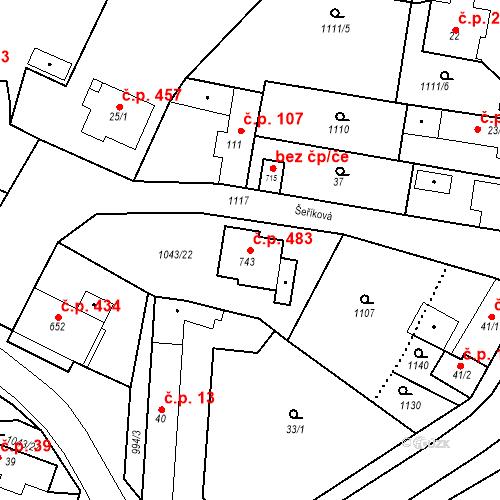 Katastrální mapa Stavební objekt Sendražice 483, Kolín