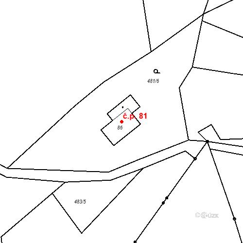 Katastrální mapa Stavební objekt Liberec XXXII-Radčice 81, Liberec