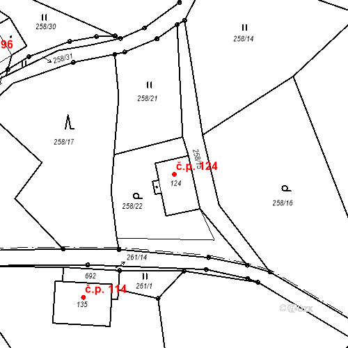 Katastrální mapa Stavební objekt Liberec XXXII-Radčice 124, Liberec
