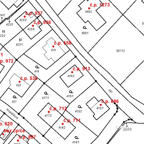Katastrální mapa Stavební objekt Liberec XIV-Ruprechtice 913, Liberec