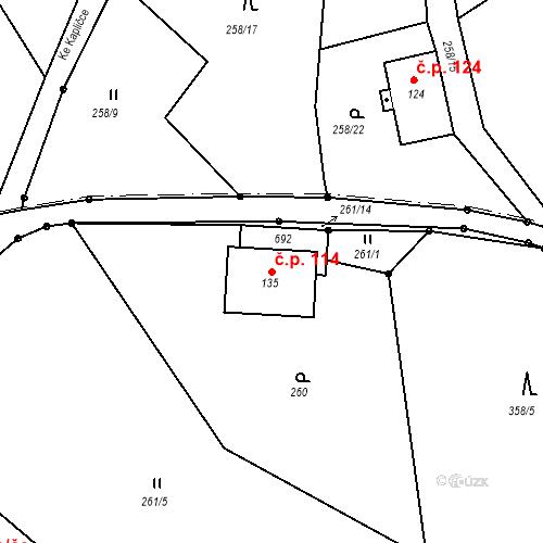 Katastrální mapa Stavební objekt Liberec XXXII-Radčice 114, Liberec