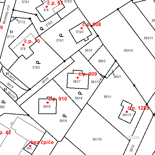 Katastrální mapa Stavební objekt Liberec XIV-Ruprechtice 909, Liberec