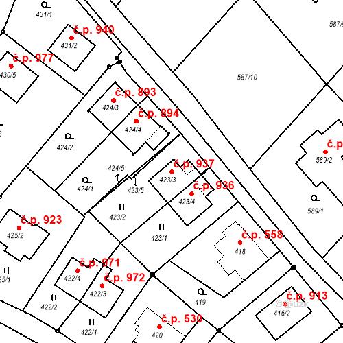 Katastrální mapa Stavební objekt Liberec XIV-Ruprechtice 937, Liberec