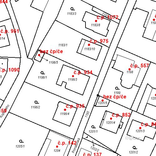Katastrální mapa Stavební objekt Liberec XIV-Ruprechtice 934, Liberec