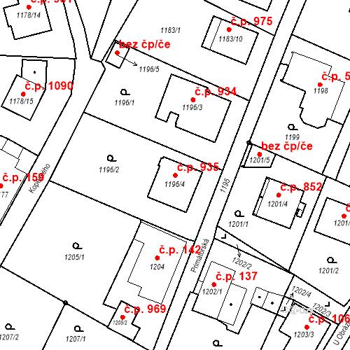 Katastrální mapa Stavební objekt Liberec XIV-Ruprechtice 935, Liberec