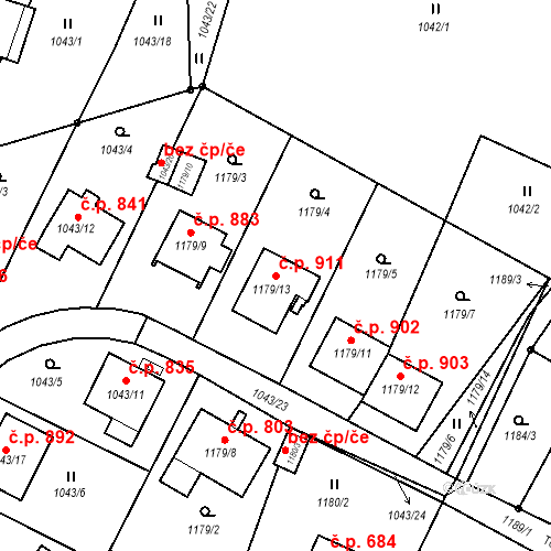 Katastrální mapa Stavební objekt Liberec XIV-Ruprechtice 911, Liberec