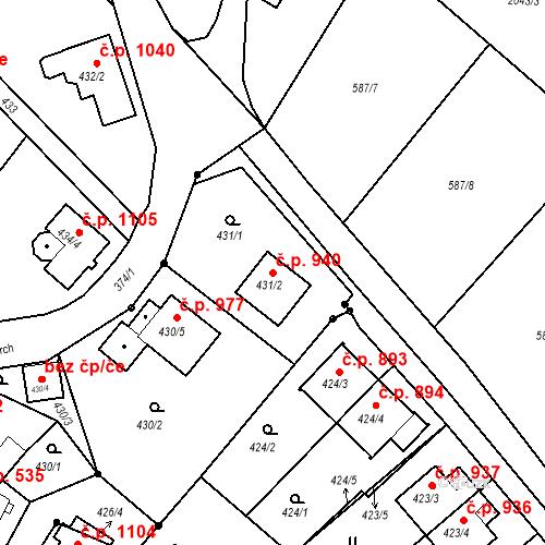 Katastrální mapa Stavební objekt Liberec XIV-Ruprechtice 940, Liberec