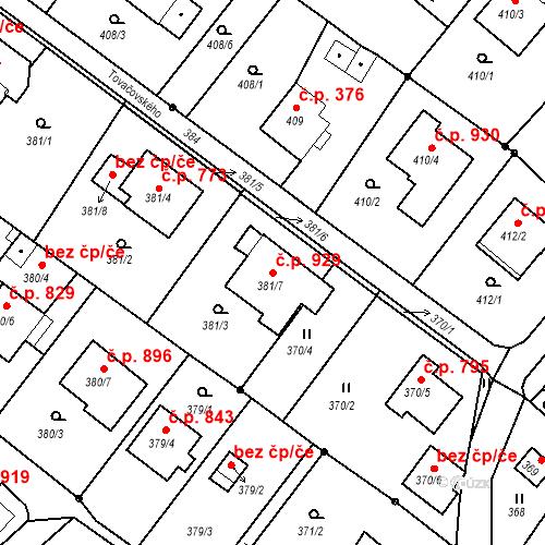 Katastrální mapa Stavební objekt Liberec XIV-Ruprechtice 929, Liberec
