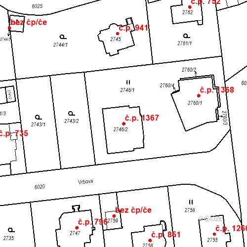 Katastrální mapa Stavební objekt Liberec I-Staré Město 1367, Liberec