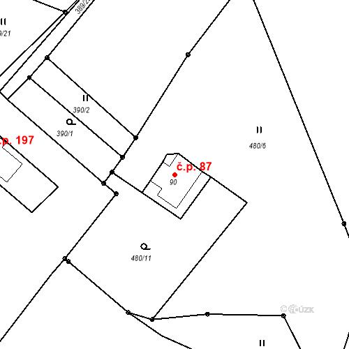 Katastrální mapa Stavební objekt Liberec XXXII-Radčice 87, Liberec