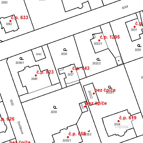 Katastrální mapa Stavební objekt Liberec I-Staré Město 443, Liberec
