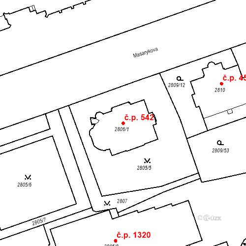 Katastrální mapa Stavební objekt Liberec I-Staré Město 542, Liberec
