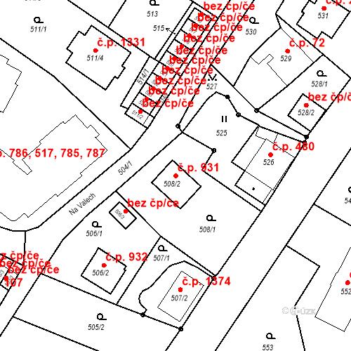 Katastrální mapa Stavební objekt Liberec XIV-Ruprechtice 931, Liberec