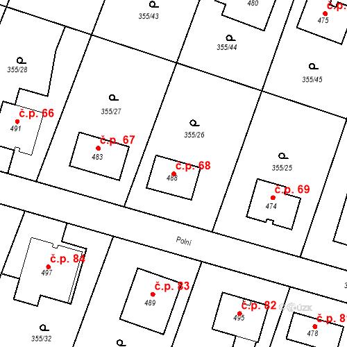 Katastrální mapa Stavební objekt Zámostí 68, Rožďalovice