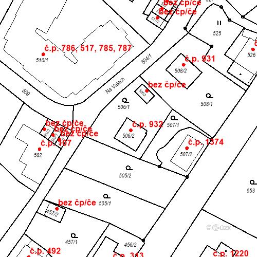 Katastrální mapa Stavební objekt Liberec XIV-Ruprechtice 932, Liberec