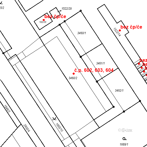 Katastrální mapa Stavební objekt Kolín IV 602, 603, 604, Kolín