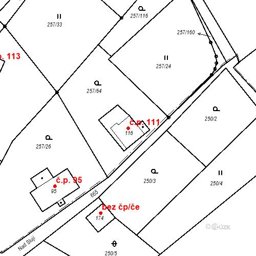Katastrální mapa Stavební objekt Liberec XXXII-Radčice 111, Liberec