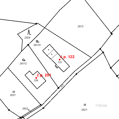 Katastrální mapa Stavební objekt Liberec XXXII-Radčice 122, Liberec