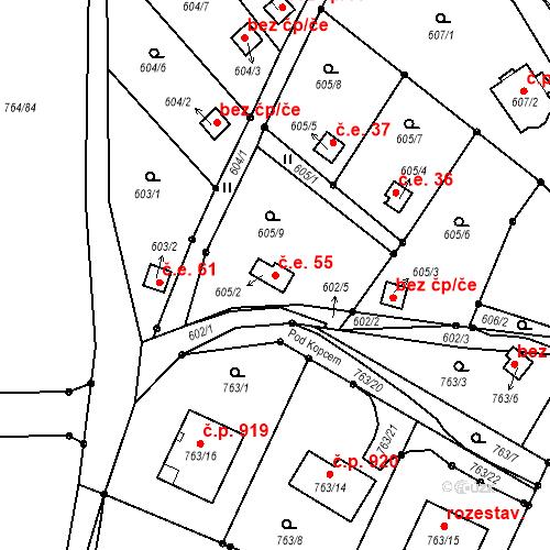 Katastrální mapa Stavební objekt Liberec XXV-Vesec 55, Liberec