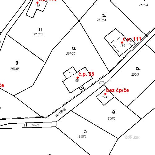 Katastrální mapa Stavební objekt Liberec XXXII-Radčice 95, Liberec