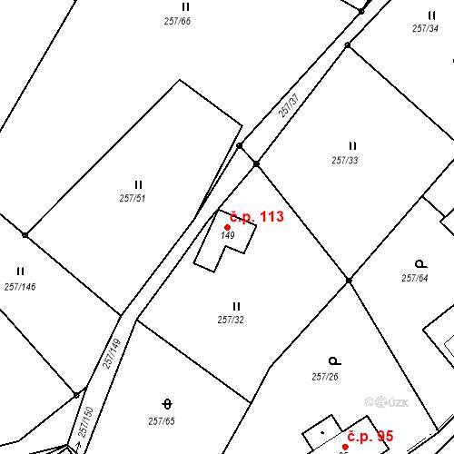 Katastrální mapa Stavební objekt Liberec XXXII-Radčice 113, Liberec