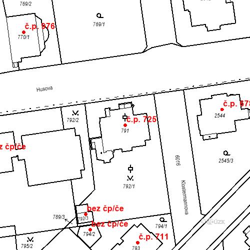 Katastrální mapa Stavební objekt Liberec I-Staré Město 725, Liberec