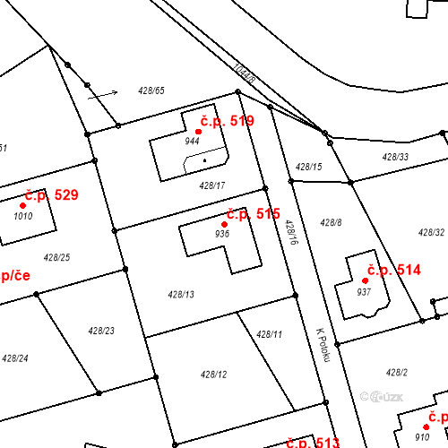 Katastrální mapa Stavební objekt Sendražice 515, Kolín