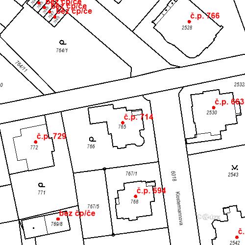 Katastrální mapa Stavební objekt Liberec I-Staré Město 714, Liberec